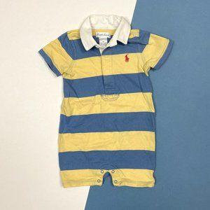 Ralph Lauren Blue & Yellow Striped Shortall 9 M